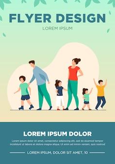 야외에서 걷는 큰 가족. 피곤한 부모와 아이들이 함께 서서 롤러 스케이트. 대가족, 어린 시절, 주말, 레저 개념에 대한 벡터 일러스트 레이션