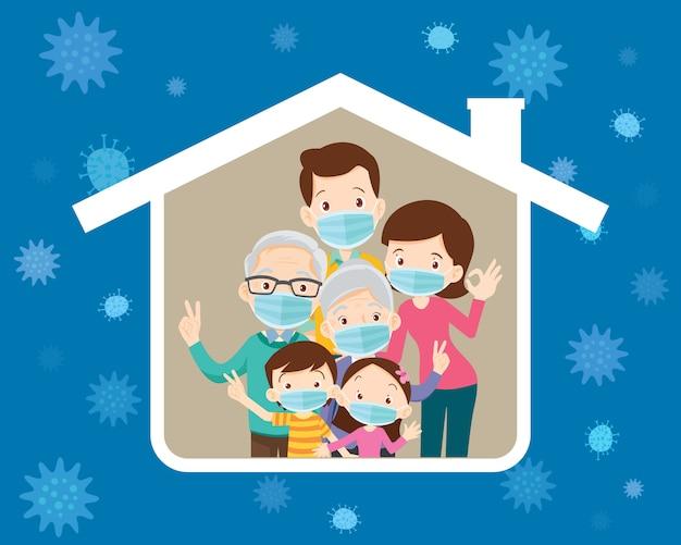 집 아이콘에 바이러스를 예방하기 위해 수술 용 마스크를 착용하는 대가족