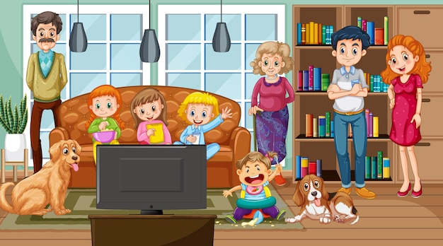 Big family with their pet in the living room scene