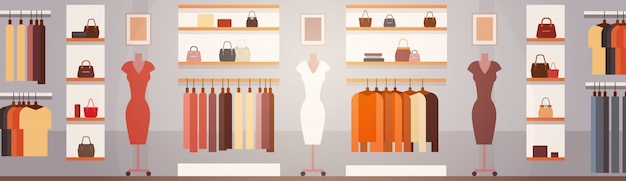 Big fashion shop super market female clothes shopping mall interior banner with copy space