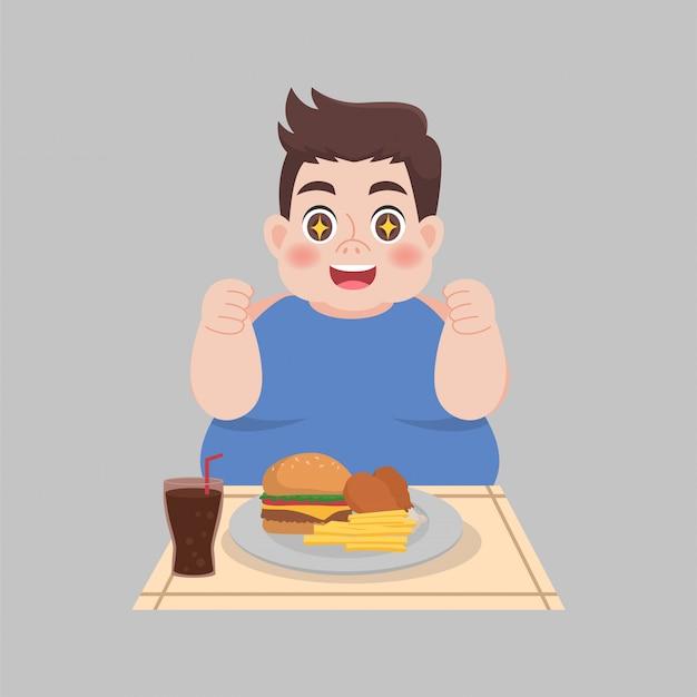 Big fat happy man enjoy eat fast food