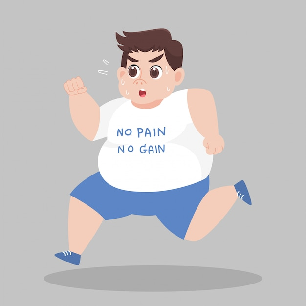 Big fat man running want to lose weight