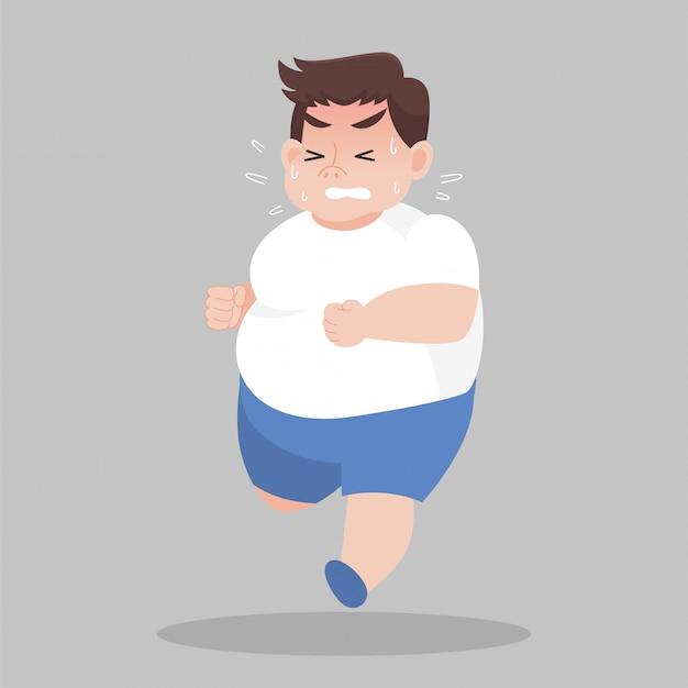 Большой толстяк бежит хочет похудеть