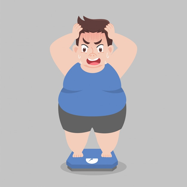 Big fat man стоит на электронных весах для веса