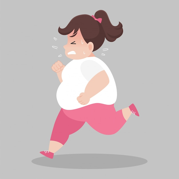 Big fat women running want to lose weight