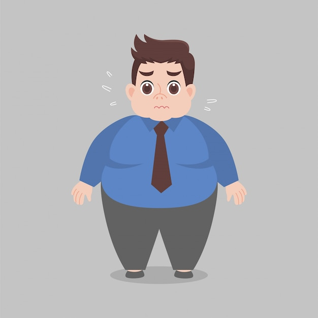 Big fat working woman worry wearing work clothes