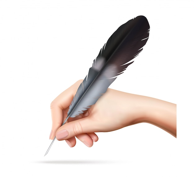 白い背景の現実的なベクトル図を手で書くための大きな羽