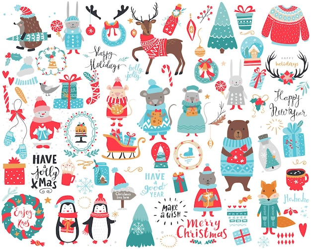 Big festive christmas and new year set with a lot of items, characters and inscriptions. vector winter collection.