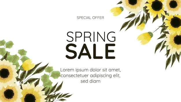 Big final spring sale banner floral frame background template with place for your text for web