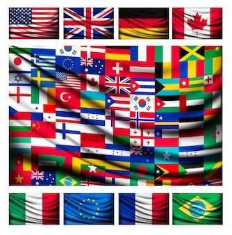 世界の国の旗で作られた大きな旗の背景。