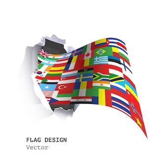 穴の紙の中のすべての国のデザインで大きな旗