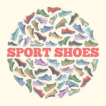 Big flat illustration collection set of sneakers running