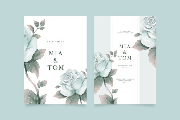 Big flower wedding invitation template