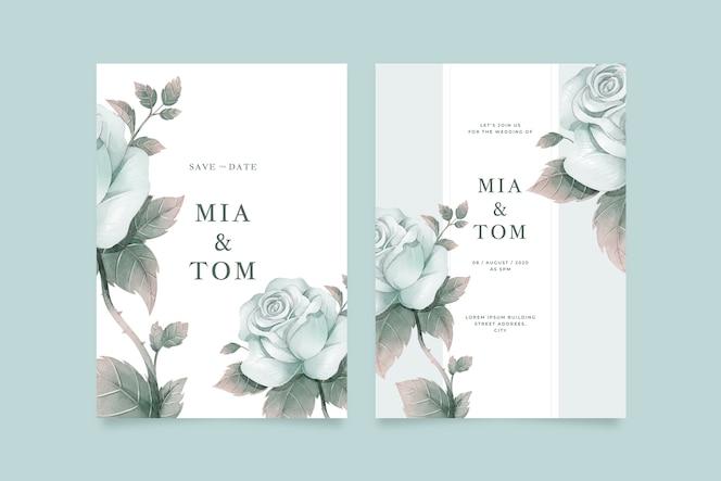 Big flower wedding invitation template