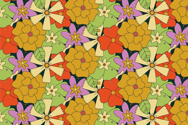 Big flowers hand drawn groovy pattern