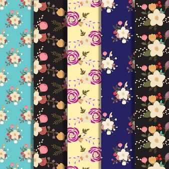 Big flowers pattern background collection