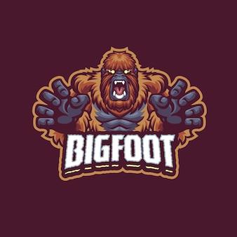Логотип big foot mascot для киберспорта и спортивной команды