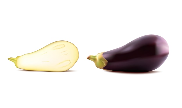 Big fresh realistic eggplant and cuted half or guinea squash isolated on white