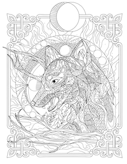 Big frightening wolf head line drawing looking far away middle of the night. large disturbing dog face drawing staring afar to one side at dark time.