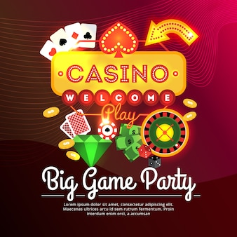 Big game party casino advertising poster