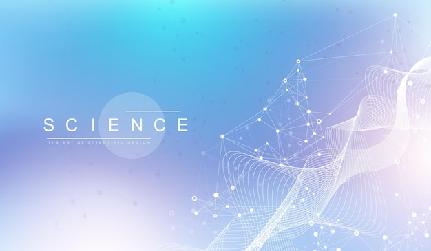 빅 게놈 데이터 시각화. dna 나선, dna 가닥, dna 테스트. crispr cas9 - 유전 공학. 분자 또는 원자, 뉴런. 과학 또는 의료 배경, 배너에 대한 추상 구조. 웨이브 플로우.