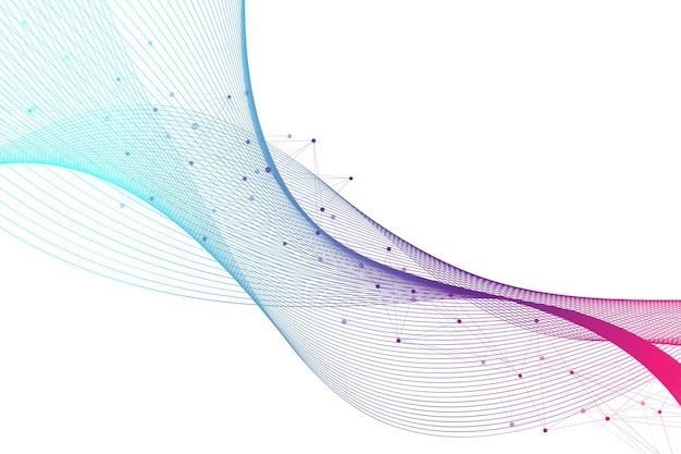 빅 게놈 데이터 시각화. dna 나선, dna 가닥, dna 테스트. 분자 또는 원자, 뉴런. 과학 또는 의료 배경, 배너에 대한 추상 구조. 파도의 흐름.