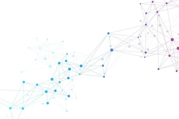 빅 게놈 데이터 시각화 건강 관리. dna 나선, dna 가닥, dna 테스트. 분자 또는 원자, 뉴런. 과학 또는 의료 배경, 배너에 대한 추상 구조. 의료 벡터 일러스트 레이 션.