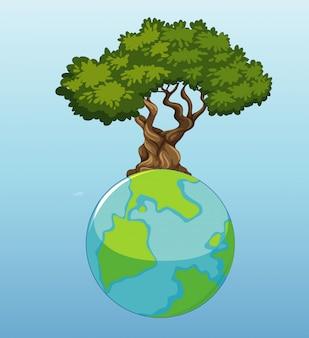 Большой глобус с большим зеленым деревом на нем