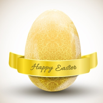 Big golden ornamental happy easter egg with ribbon realistic vector illustration