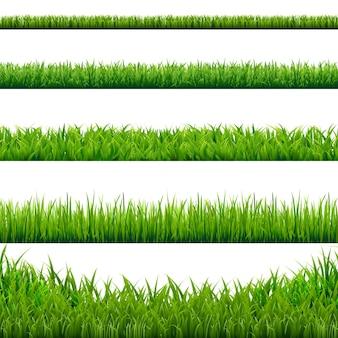 Иллюстрация набора границ большая трава