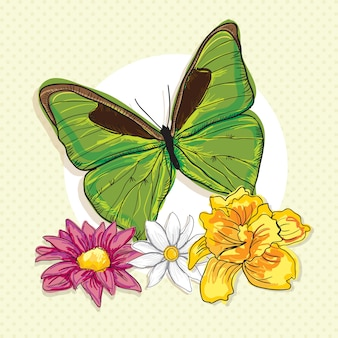 Big green butterfly with colorful flowers on vintage background