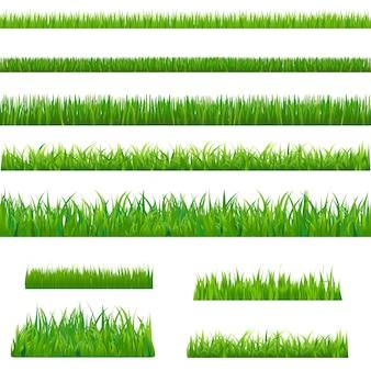 大きな緑の芝生、白い背景、イラスト。