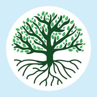 큰 녹색 손으로 그린 나무 생활
