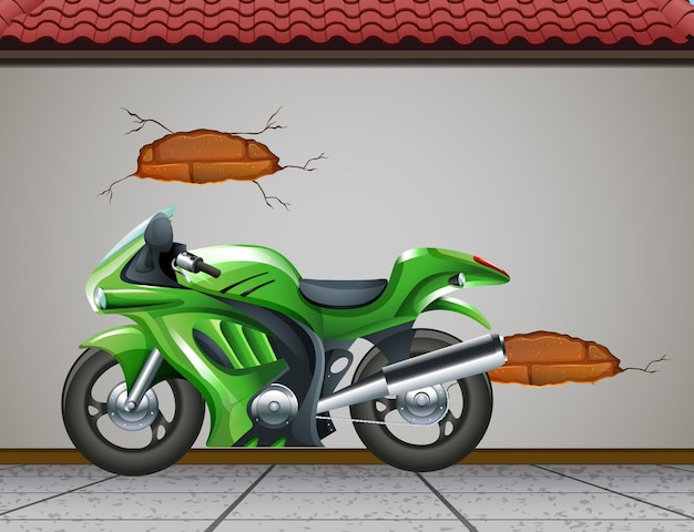 큰 녹색 오토바이 또는 거리에 주차된 오토바이