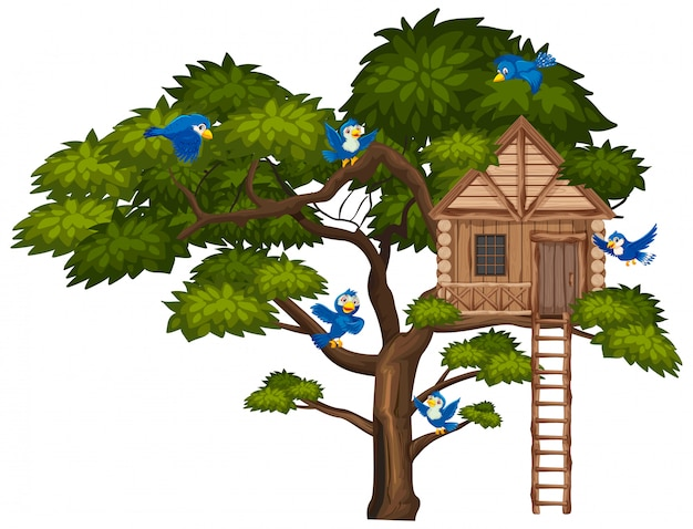 Big green tree and many blue birds flying over the treehouse