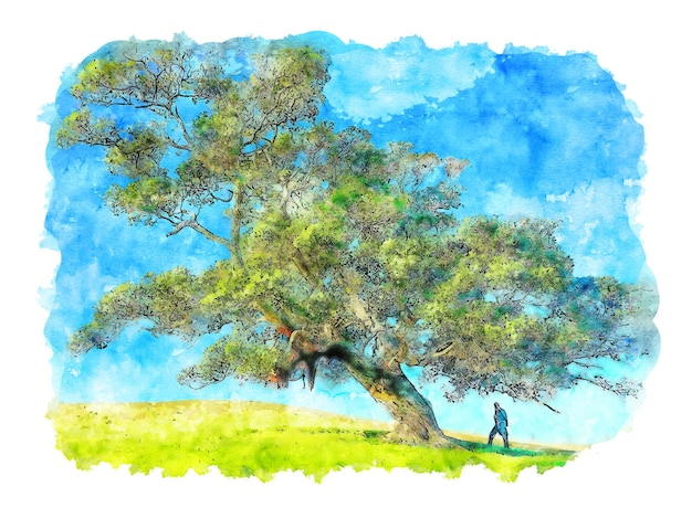 큰 녹색 나무 수채화 나무 포스터 녹색 나무 인쇄 벽 장식 인쇄 디지털 인쇄