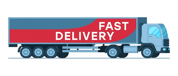 Big grey fast delivery shipping company truck