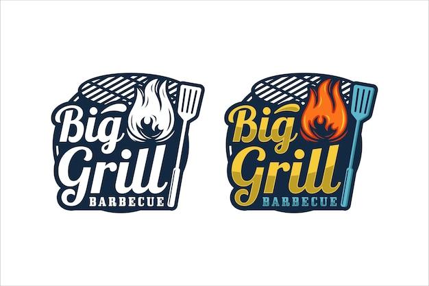 Big grill barbecue 프리미엄 디자인 로고