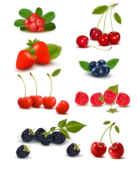 신선한 딸기와 체리의 큰 그룹.