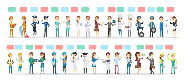 다른 직업의 사람들의 큰 그룹은 연설 거품을 사용하여 이야기합니다. 여성과 남성 사람이 이야기합니다. 사업가 의사 및 기타 직업. 격리 된 평면 벡터 일러스트 레이 션