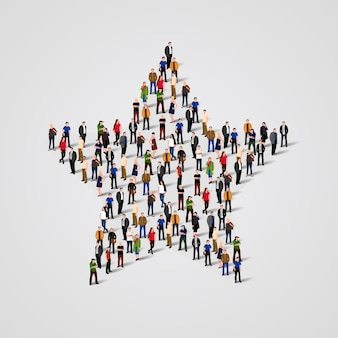 Big group of people standing in a star sign