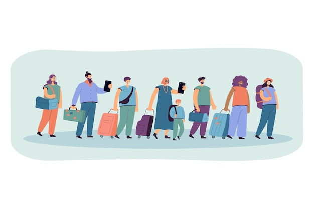 Big group of tourists in line with baggage flat illustration.