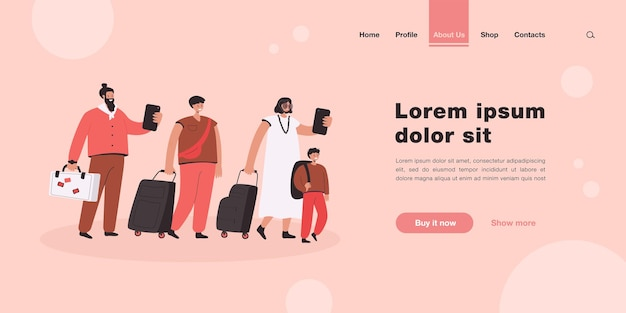 Big group of tourists in line with baggage landing page in flat style
