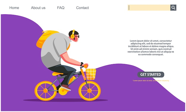 Big guy riding yellow bicycle, student bike to school concept. .