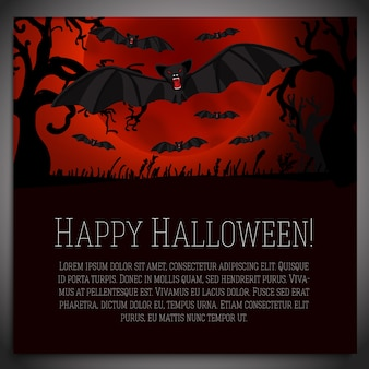 Big halloween banner with illustration of black scary bats on the red moony background and scary tree branches.