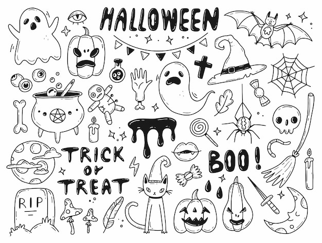 Big halloween doodle set vector illustration with isolated elements