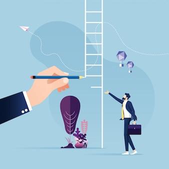 Big hand draw ladder for a businessman leadership concept
