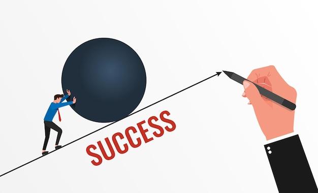 목표 개념을 달성하기 위해 사업가를 지원하는 큰 손 그리기 선