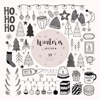 Big hand drawn christmas and new year vector set.