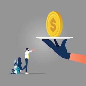 大きな手は賄賂を取ることを拒否するビジネスマン、腐敗取引中のビジネスマン、ビジネス腐敗の概念にお金を与える